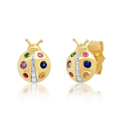 MULTI COLORED YELLOW GOLD LADYBUG STUDS