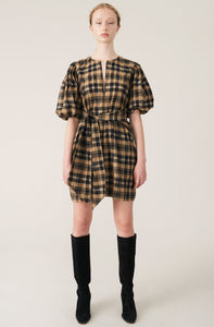 GANNI - Seersucker Check Short Sleeve Dress