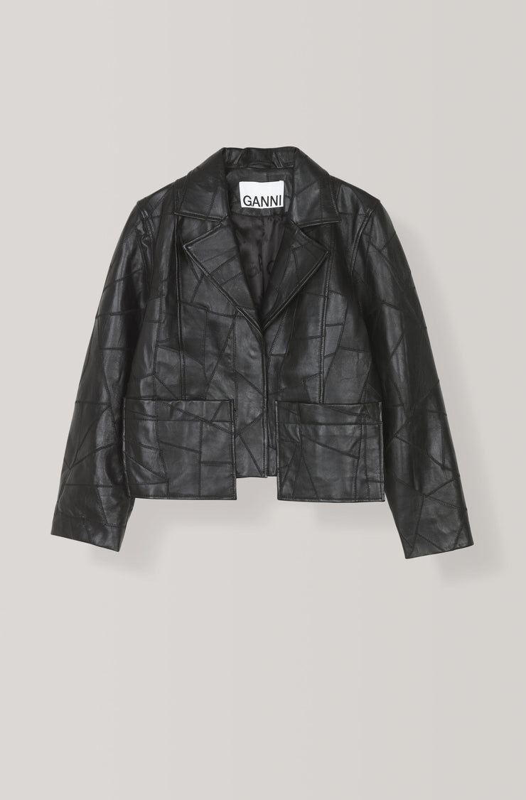 GANNI - Patch Leather Jacket