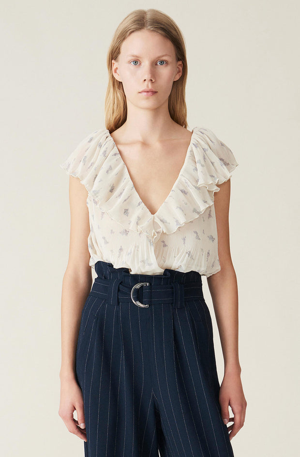 Egret Pleated Georgette Top