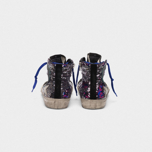 Slide Sequin with Blue Laces