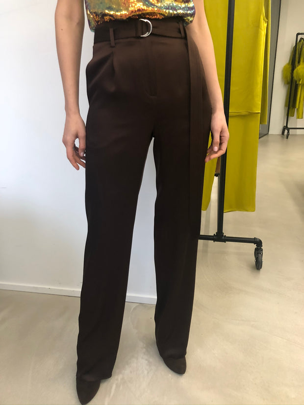 Satin High Waisted Belted Pant