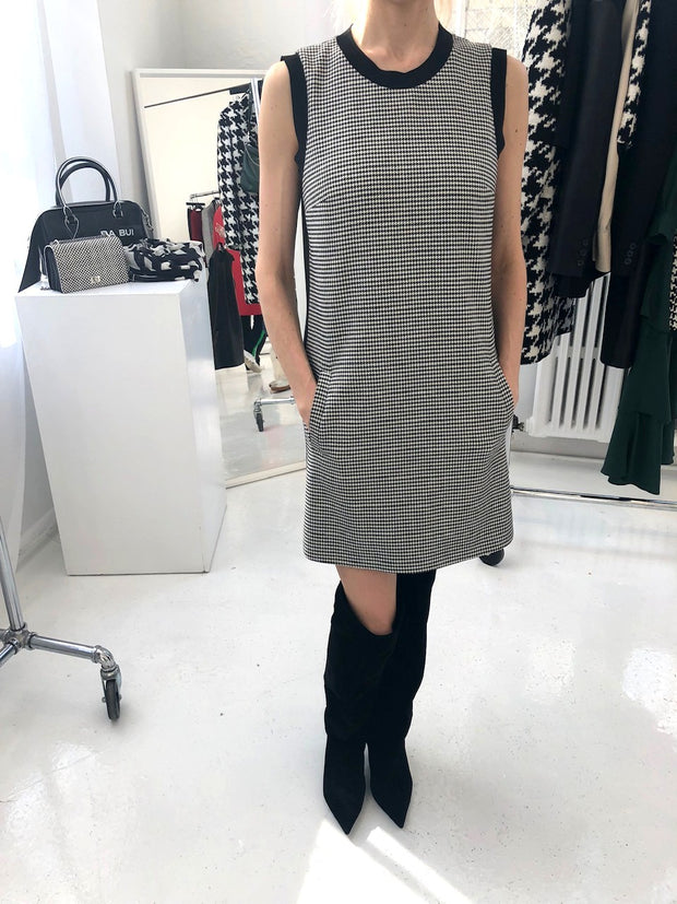 Herringbone Shift Dress with Pockets