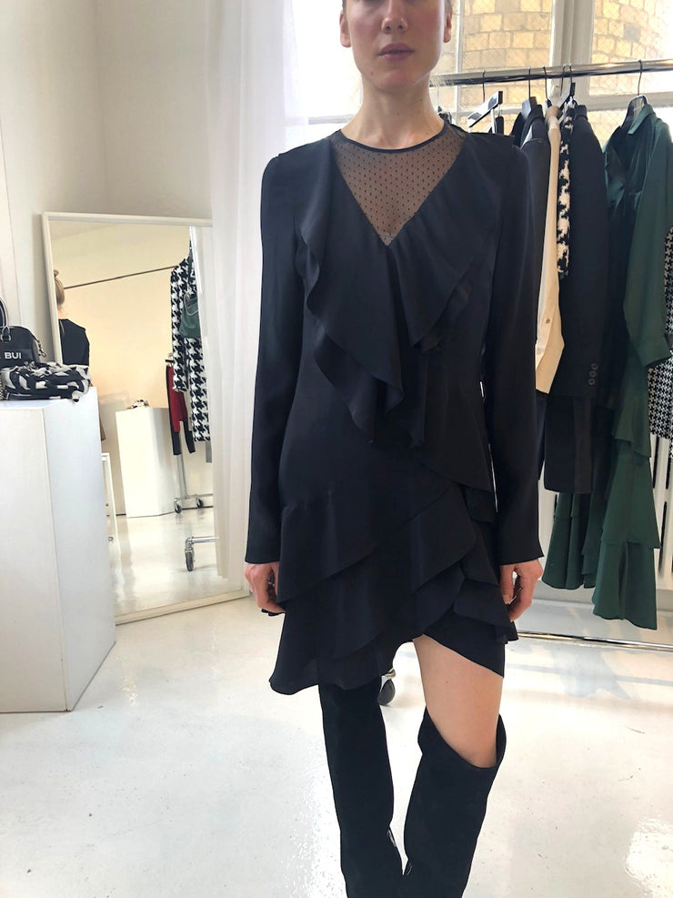 Ruffled Black Long Sleeve Dress