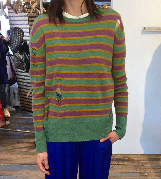 Striped Cashmere Sweater with Drop Stitching
