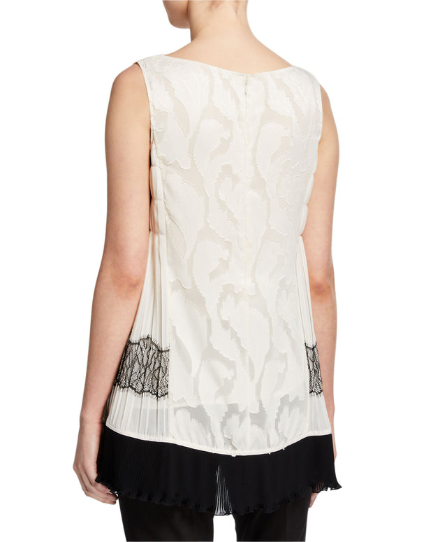 Pleated Lace Sleeveless Top