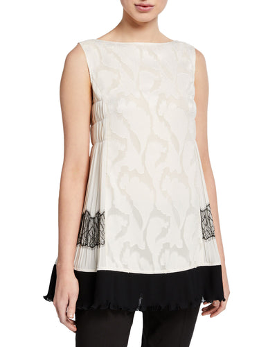 ADEAM - Pleated Lace Sleeveless Top