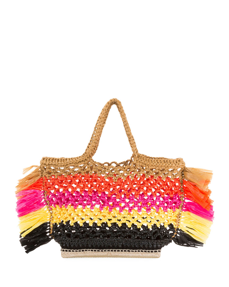 Large Espadrille Tote in Multi Orange