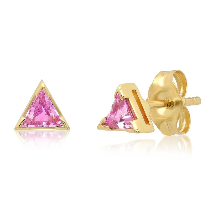 ERINESS - Pink Sapphire Triangle Studs