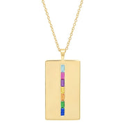 ERINESS - RAINBOW BAGUETTE DOG TAG NECKLACE