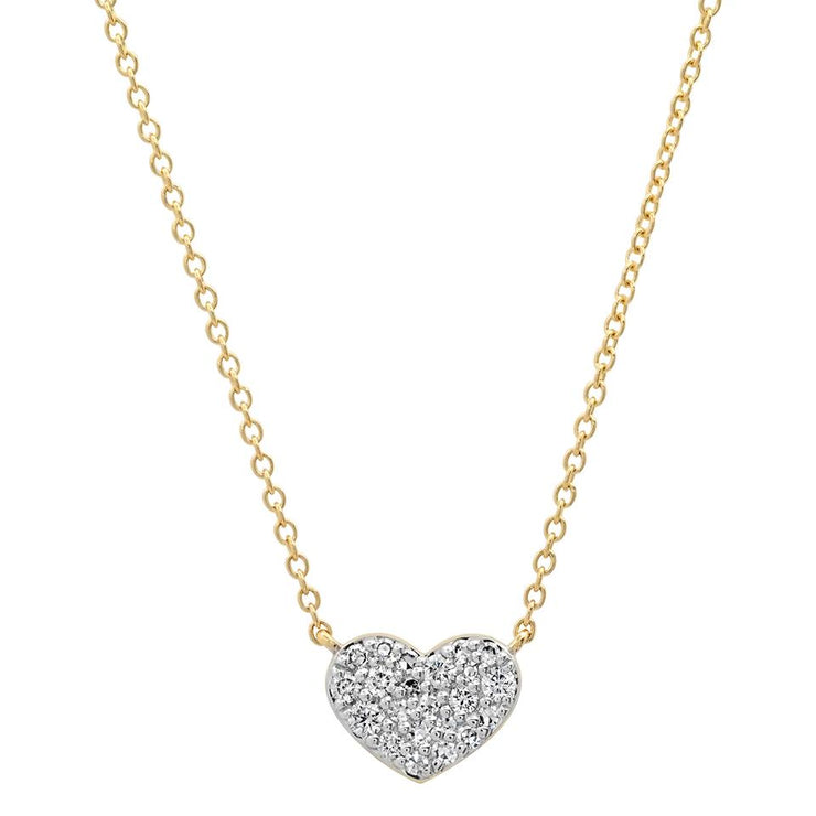 Gold Diamond Smushed Heart Necklace