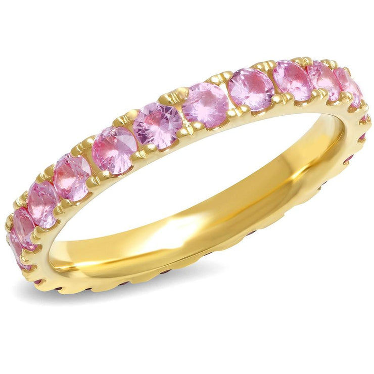 ERINESS - LARGE PINK SAPPHIRE ETERNITY BAND