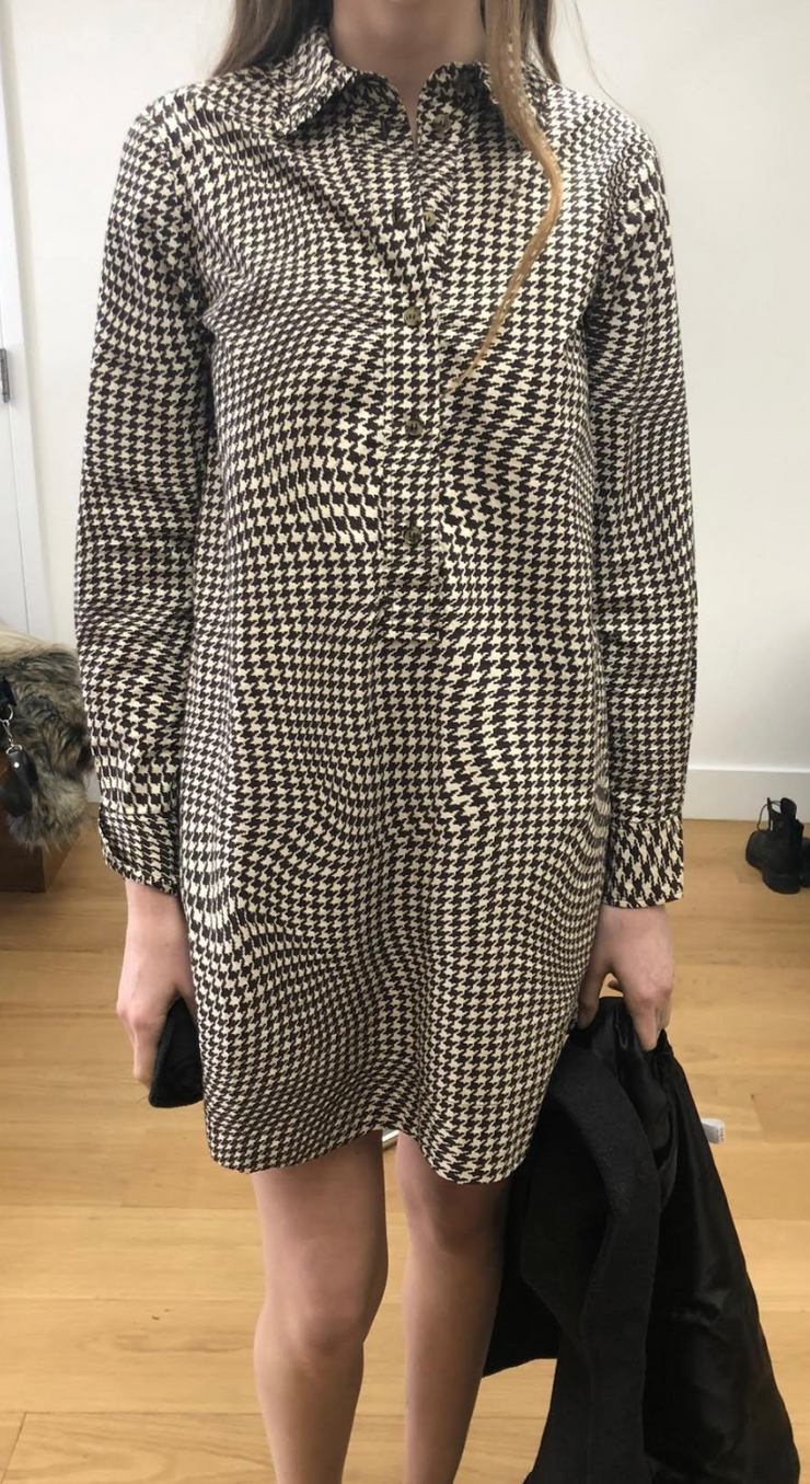 Brown Houndstooth Henley Dress