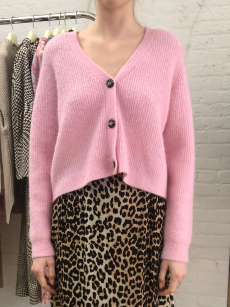 Pink Wool Knit Cardigan