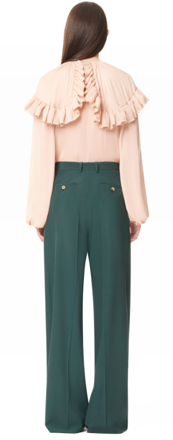 Dark Green Silk Trousers