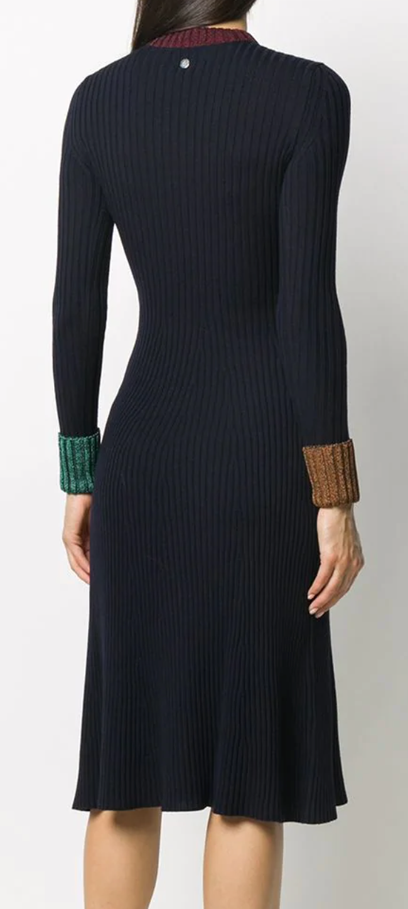 Navy Blue Metallic Cuff Knitted Dress