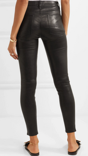 Le High Skinny Leather Washed Black