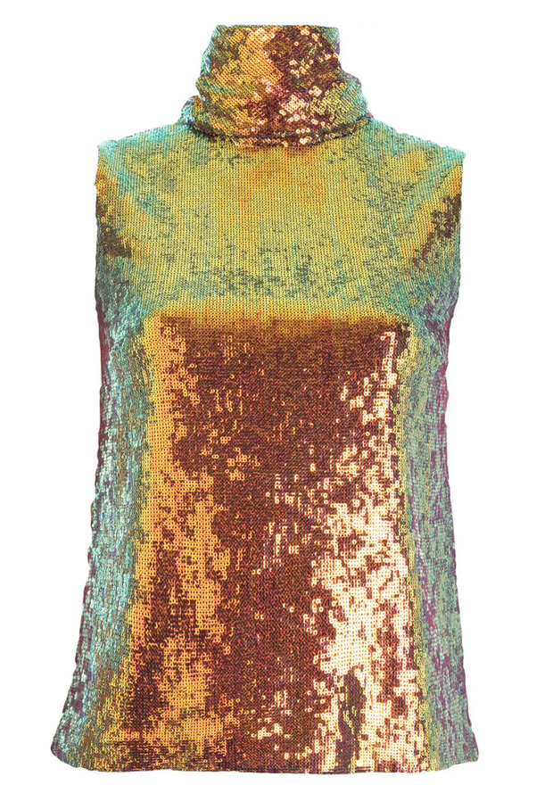 Iridescent Draped Neck Tank