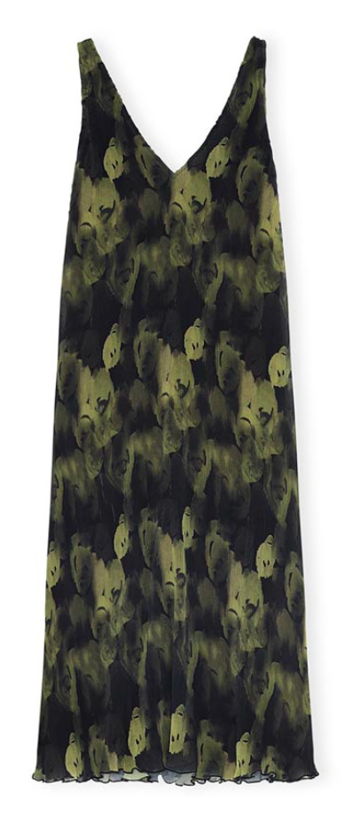 Olive Drab Pleated Georgette Dress