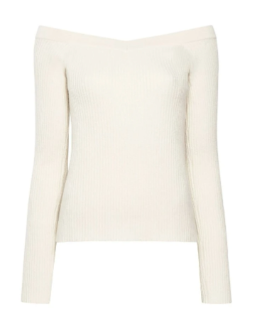 Ribbed Cashmere Off Shoulder Sweater