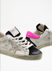 Black and White Superstar with Hot Pink Back