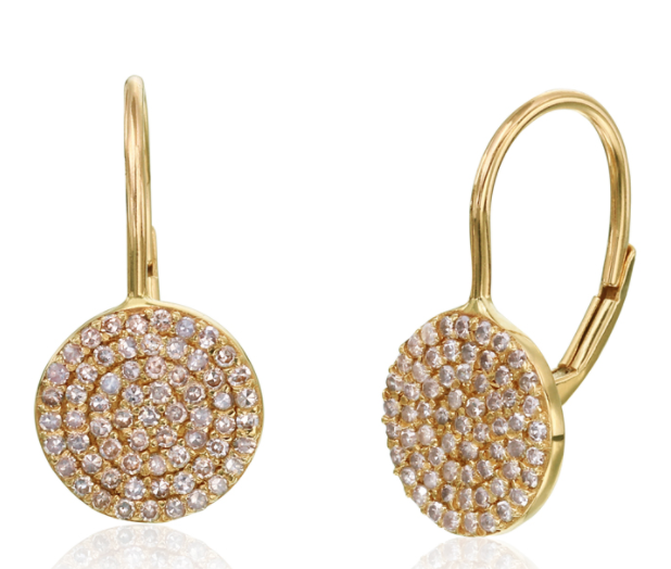Diamond and Gold Disk Earrings