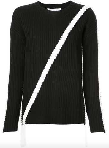 DEREK LAM 10 CROSBY - Crewneck Knit with Braid Detail