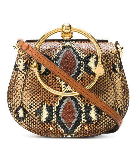 CHLOÉ - Nile Small Bracelet Bag in Python Caramel