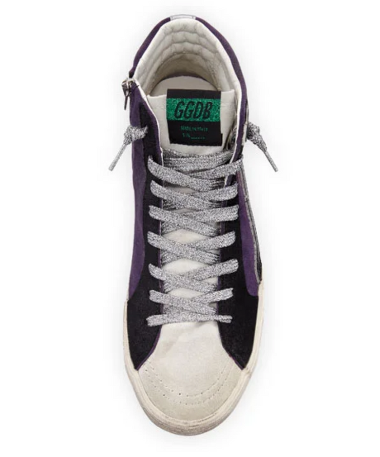 Violet Hi Top with Silver Laces
