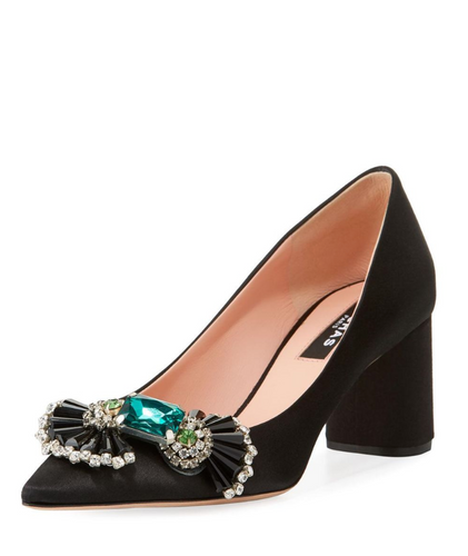 ROCHAS - Embellished Black Pump