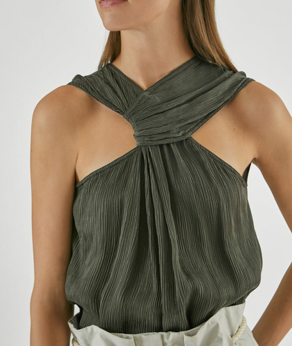 YIGAL AZROUEL - Crinkle Halter Neck Top