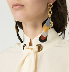 CHLOÉ - Multicolor Feather Earrings