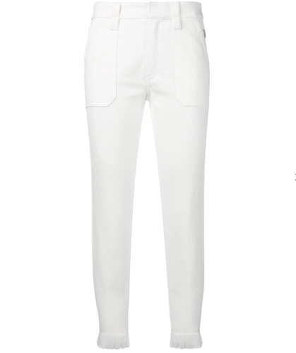 CHLOÉ- Crop White Fringe Denim