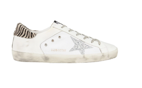 GOLDEN GOOSE - White Superstar W Silver Star & Zebra