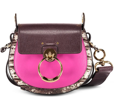CHLOÉ - Tess Small Mix Material - Black Raisin