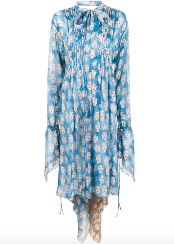 LANVIN - Face Print Tie Waist Midi Dress