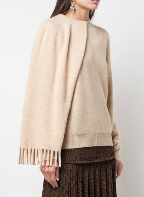 Draped Long Sleeve Cashmere Pullover