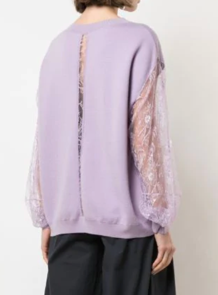 ADAM LIPPES- Lace Sleeve Sweater