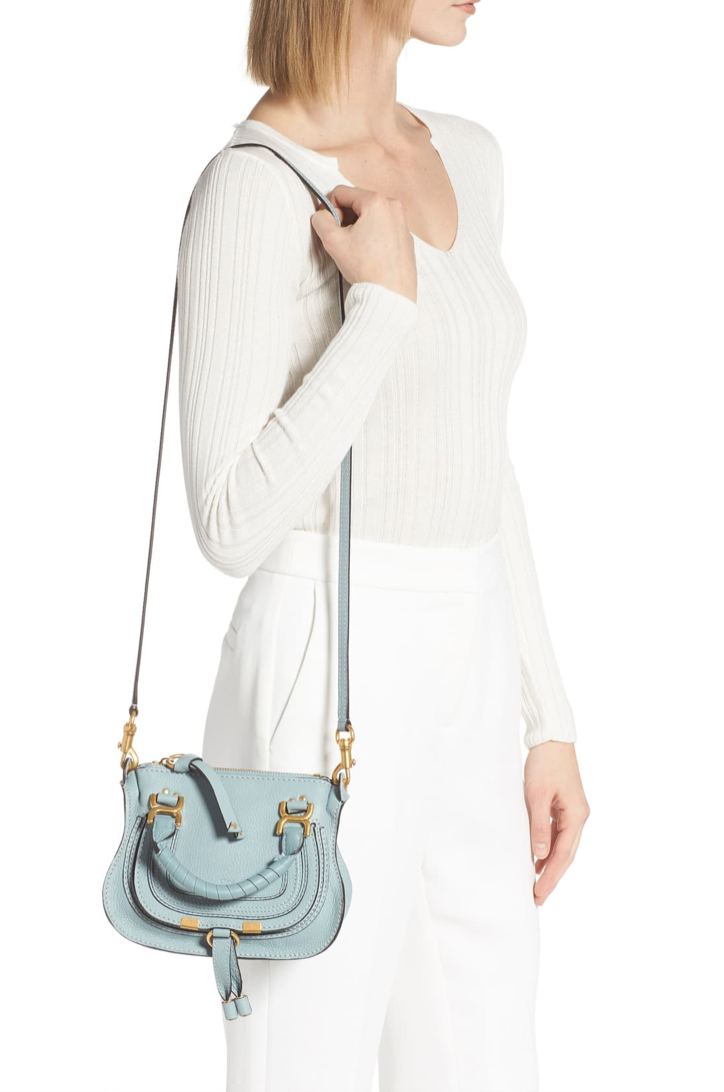 CHLOÉ - Marcie Mini Crossbody Faded Blue
