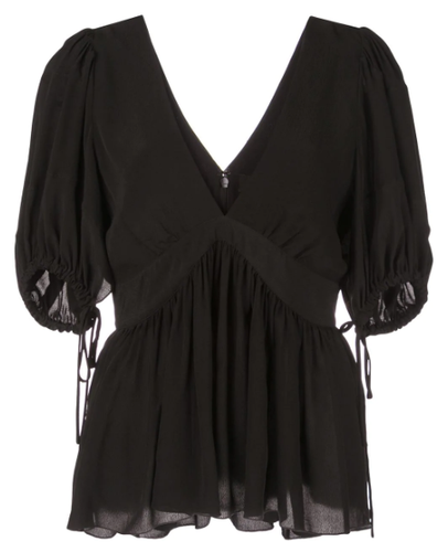PROENZA SCHOULER - Ruched Tie Black Short Sleeve Top
