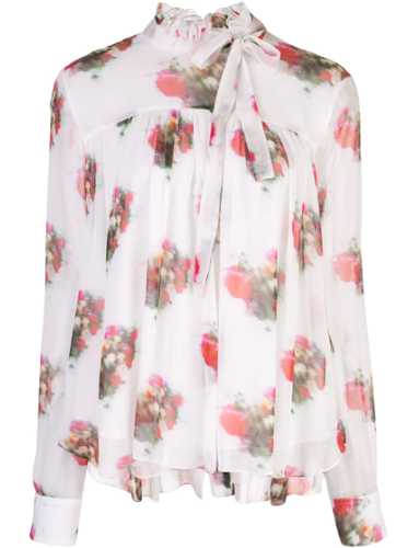 ADAM LIPPES - High Neck Floral Print Blouse
