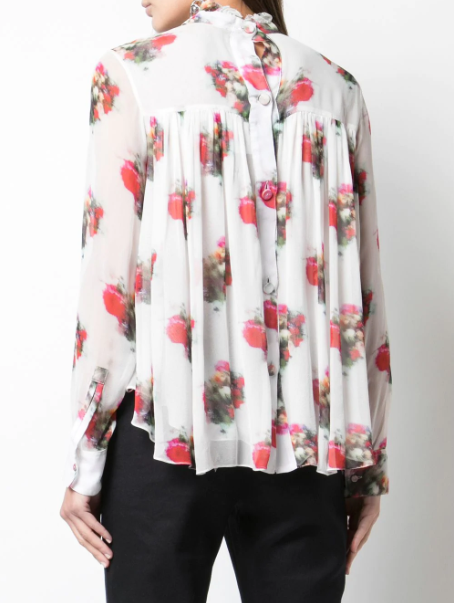 High Neck Floral Print Blouse