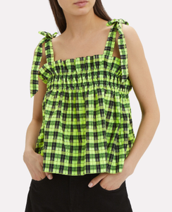 GANNI - Neon Seersucker Check Top