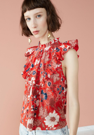 ULLA JOHNSON - Ida Sleeveless Scarlet Floral Top