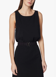 Sleeveless Crepe Jersey Fitted Dress With Pleated Hem