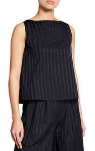 ADAM LIPPES - Striped Cotton Sleeveless Shell Top