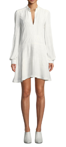 DEREK LAM 10 CROSBY - Long Sleeve Shift Dress with Lace Details