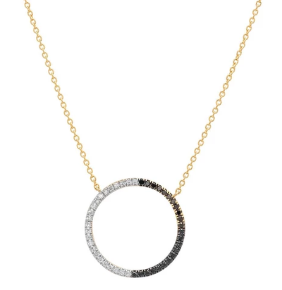 ERINESS - Black and White Diamond Circle Necklace