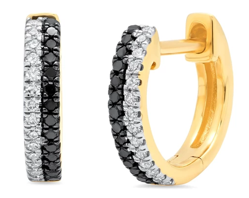 ERINESS - White Gold Double Row Black and White Diamond Huggies