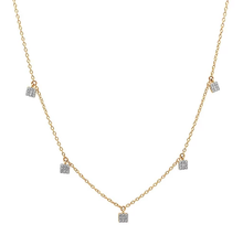 ERINESS - Diamond Mini Square Necklace